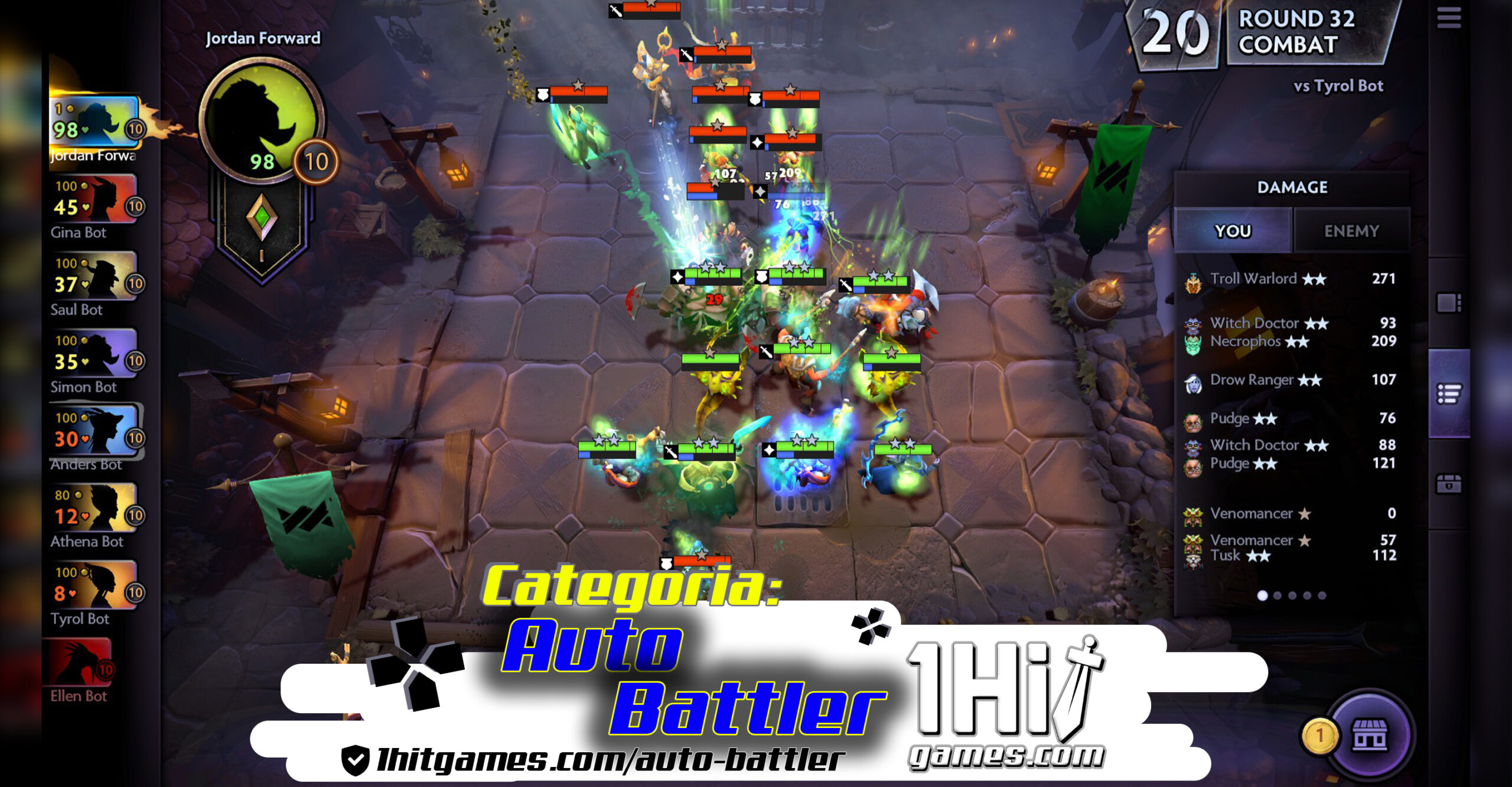 auto battler DotA-Underlords 1hitgames estrategia chess autochess bots Bruxos Caçadores Caçadores de Demônios TFT TeamFight Tactics